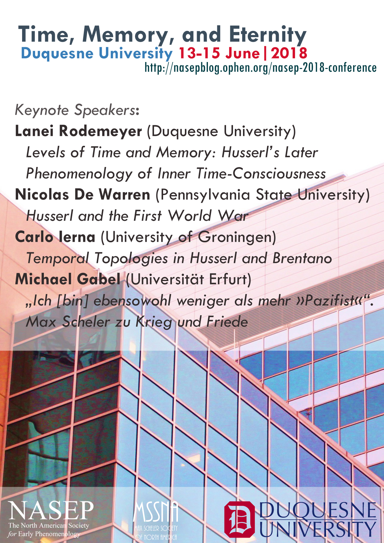 Nasep 2018 Conference Time Memory And Eternity Nasep